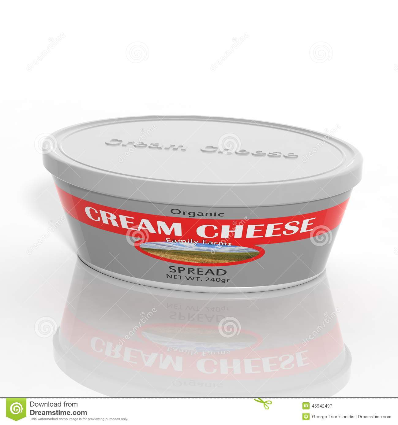 3D Cream Cheese Plastic Container Stock Illustration.