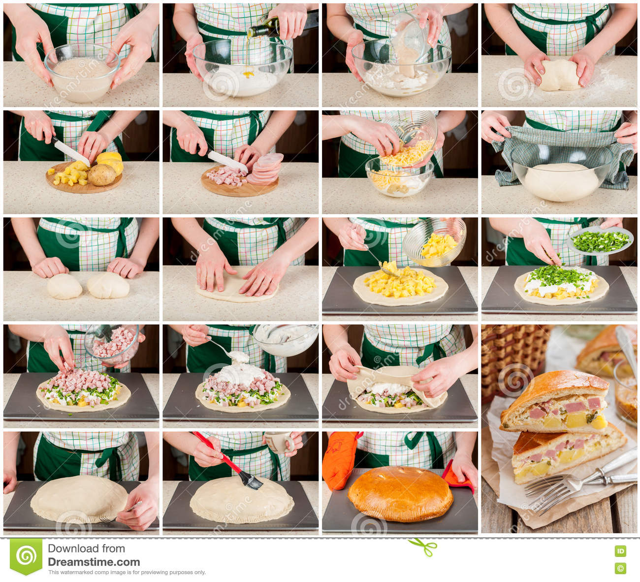 A Step By Step Collage Of Potato, Ham, Sour Cream And Cheese Pie.