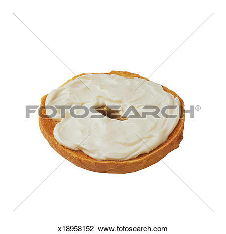 Stock Photo of Toast Bagel with Cream Cheese x18958152.