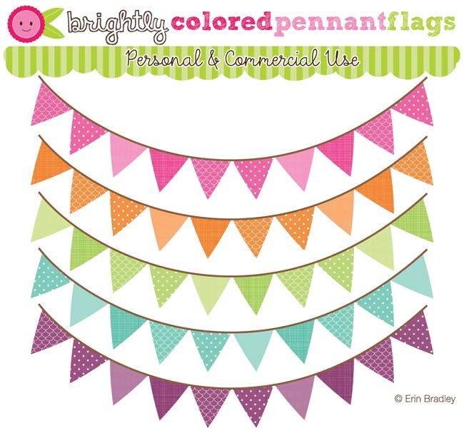 Flag pennant clipart cream color.