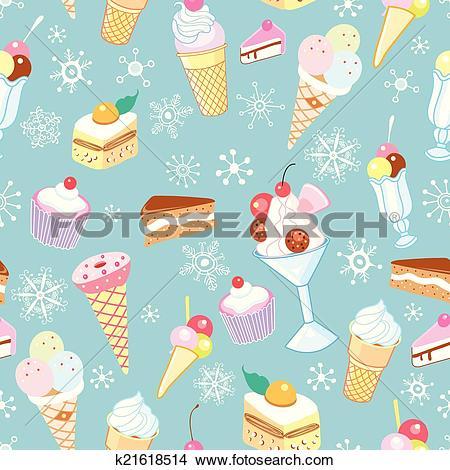 Clipart of vektor winter ice cream colored k21618514.