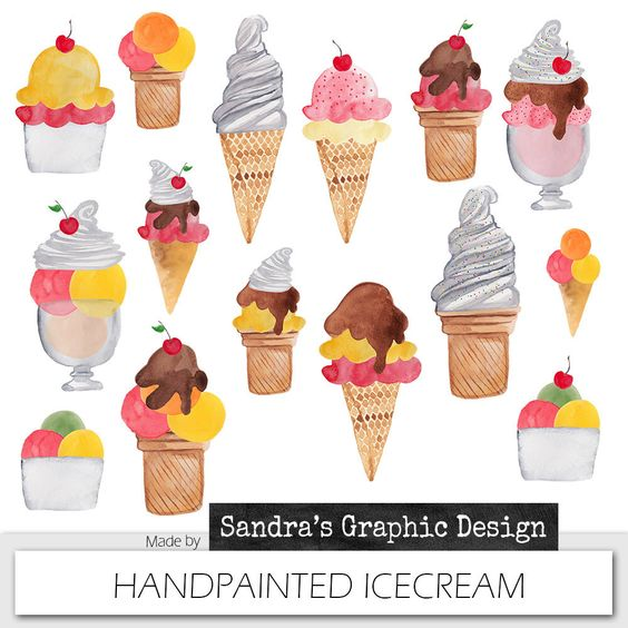 "Ice cream clipart: ""SUMMER ICE CREAM"" with hand painted watercolor."