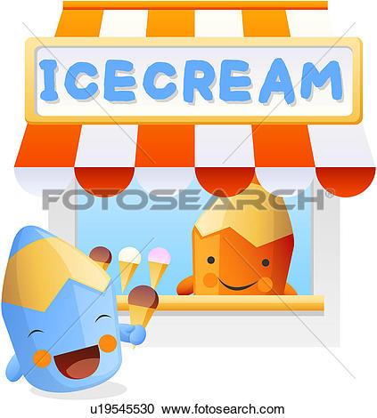 Clipart of Ice cream cone, stationery, ice cream, colored pencil.