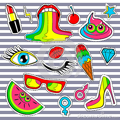 Fashion Patch Badges With Lips, Kiss, Heart, Star, Ice Cream.