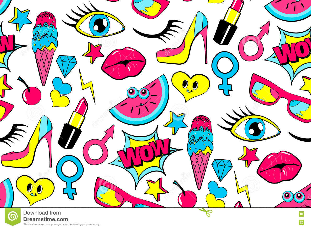 Seamless Pattern Of Fashion Patch Badges. Lips, Kiss, Heart.