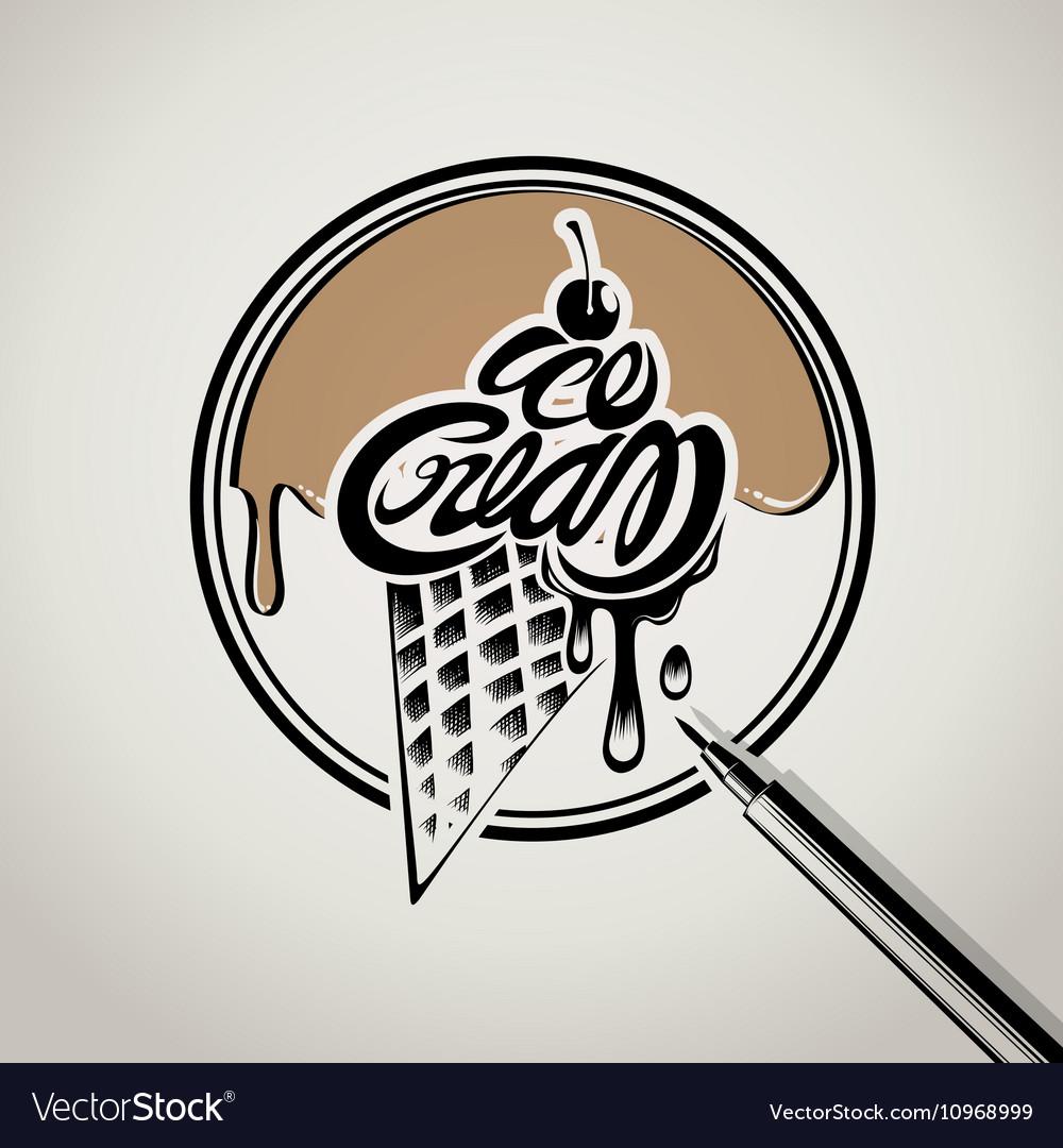 Ice cream typography logo design.