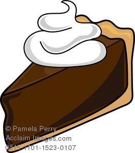 Clip Art Illustration of a Piece of Chocolate Cream Pie Icon.