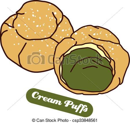 Clip Art Vector of delicious cream puff.