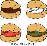 EPS Vectors of choux pastry cream puff food theme vector art.