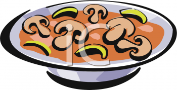 Food Clip Art Picture of a Bowl of Cream of Mushroom Soup.