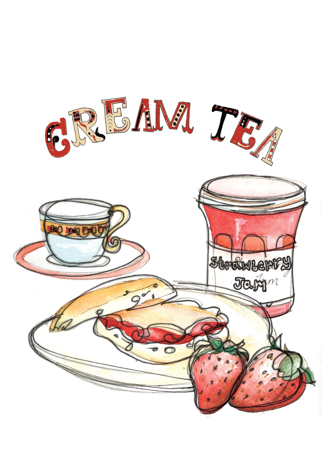 Clipart cream tea.