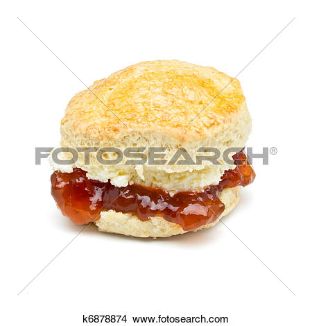 Stock Photo of Cream tea Scone k6878874.