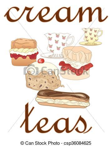 Vector Illustration of cream teas.