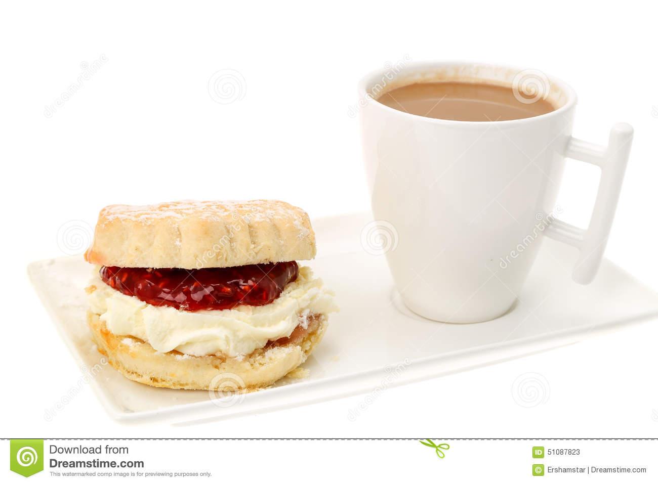Cream Tea, Scones With Strawberry Jam Stock Photo.