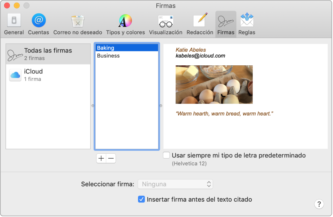 Crear y usar firmas de correos en Mail en la Mac.