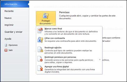 Agregar o quitar una firma digital en archivos de Office.
