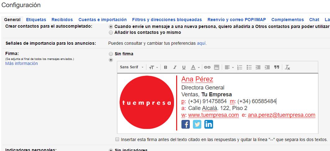 Cómo crear la firma de correo electrónico para tu empresa.