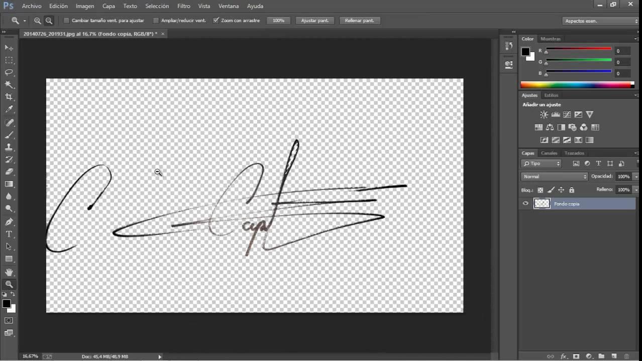 Como digitalizar una firma con fondo transparente en photoshop.