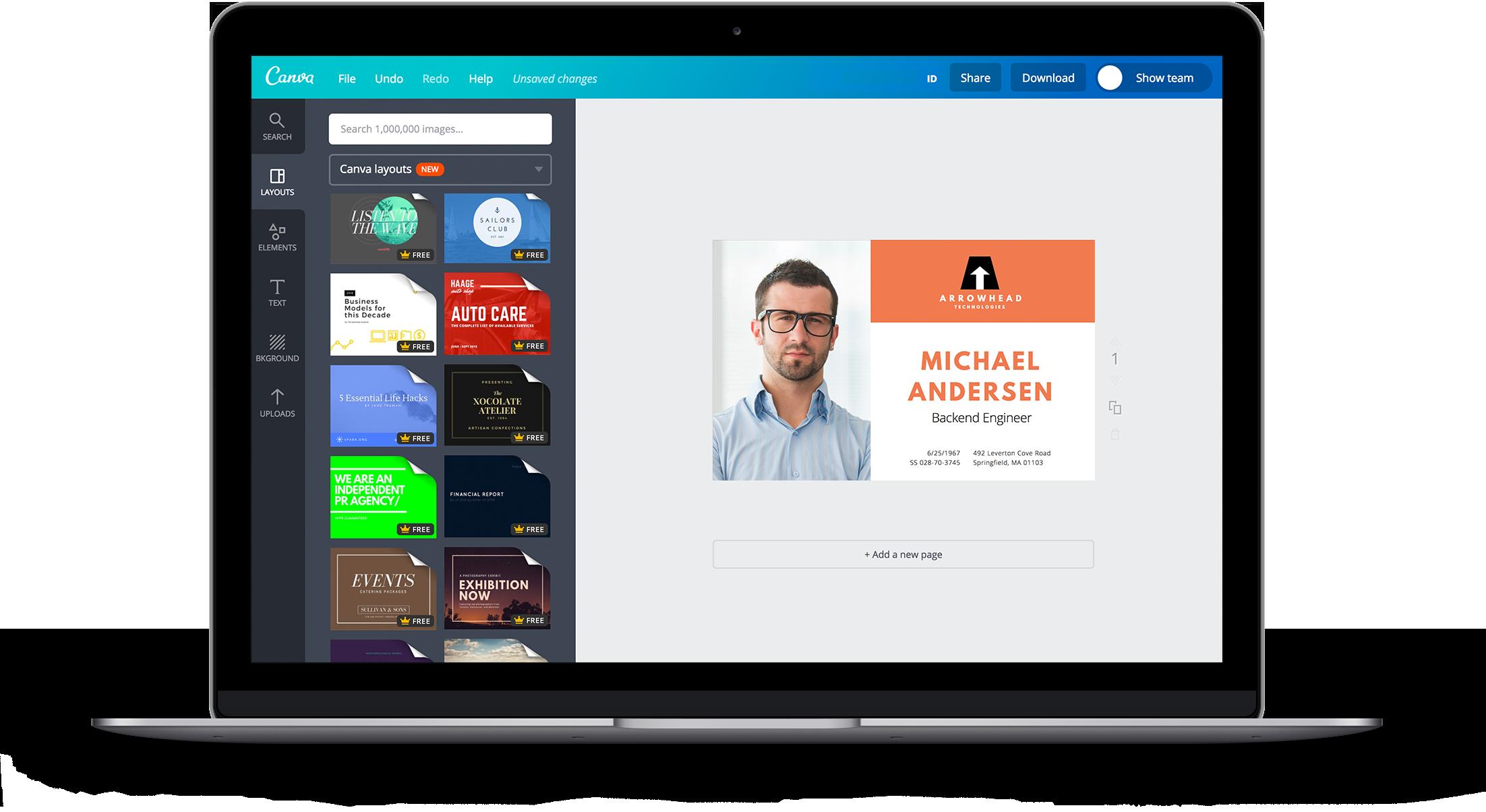 Crea carnets de identificación online y gratis con Canva.