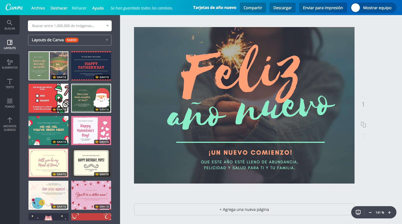 Crea tarjetas de año nuevo online gratis.