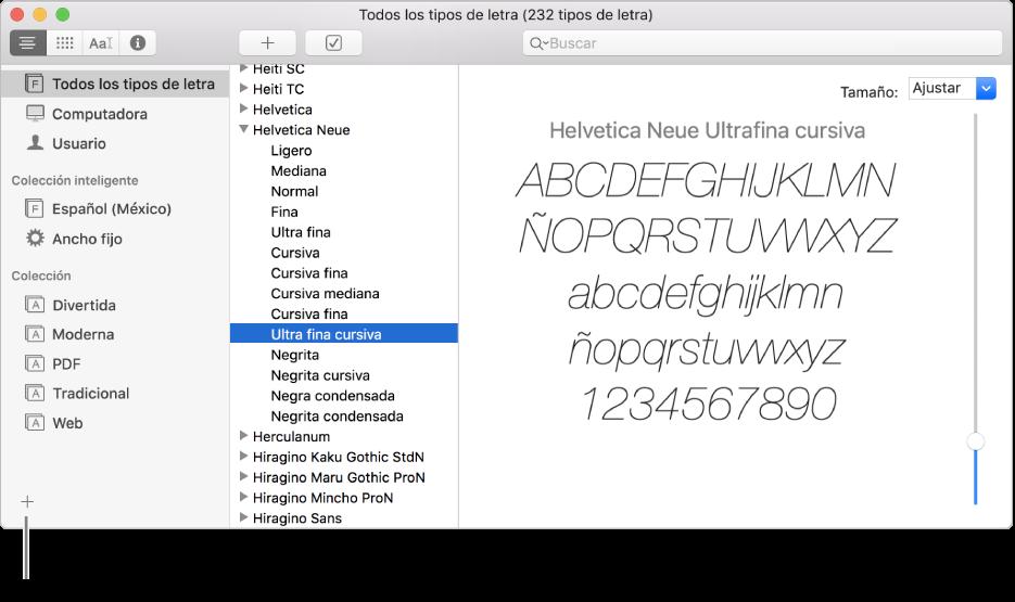 Crear bibliotecas y colecciones de tipos de letras en Catálogo.