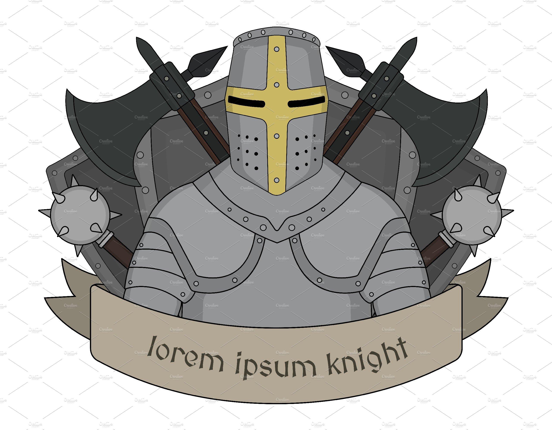 Medieval knight emblem. Vector.