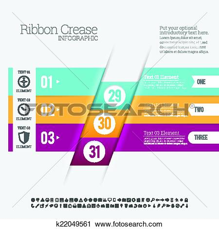 Clipart of Ribbon Crease Infographic k22049561.