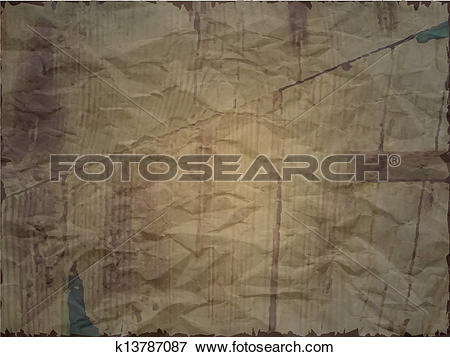 Clip Art of Creased paper with wood effect in dark shade k13787087.