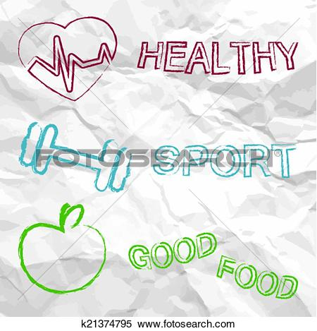 Clipart of healthy, sport, food on a creased paper k21374795.