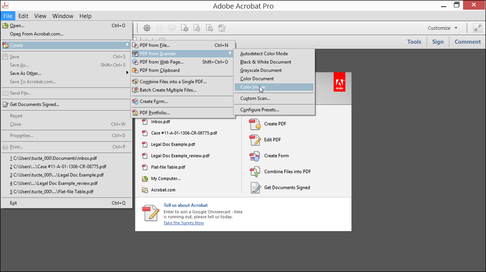 Create a PDF from a Scanner.