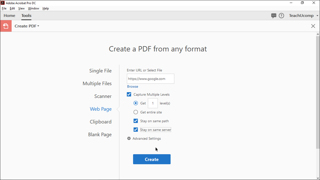 Create a PDF from a Web Page in Acrobat.