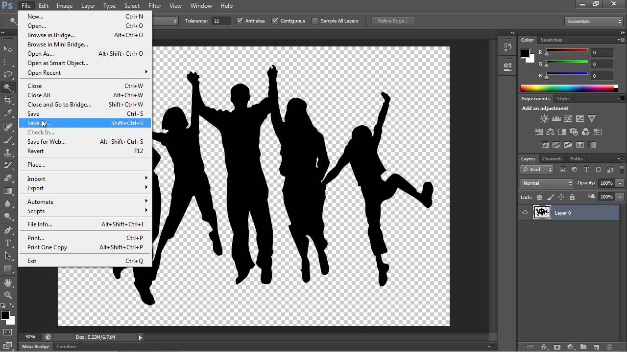 How to Save Image with a Transparent Background in Photoshop CS6.
