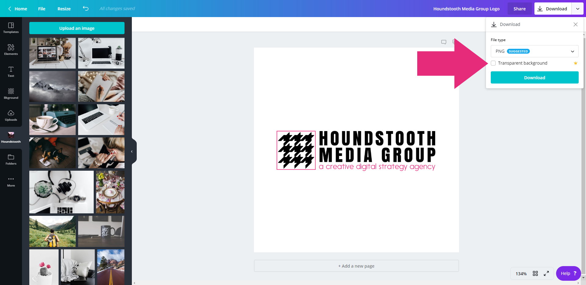 How to Make a Transparent Background in Canva • Houndstooth Media Group.