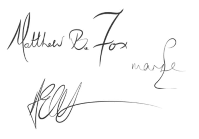 create a digital version of your signature in vectors, png, jpg formats.