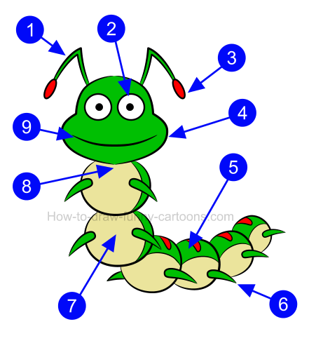 How to create a caterpillar clip art.