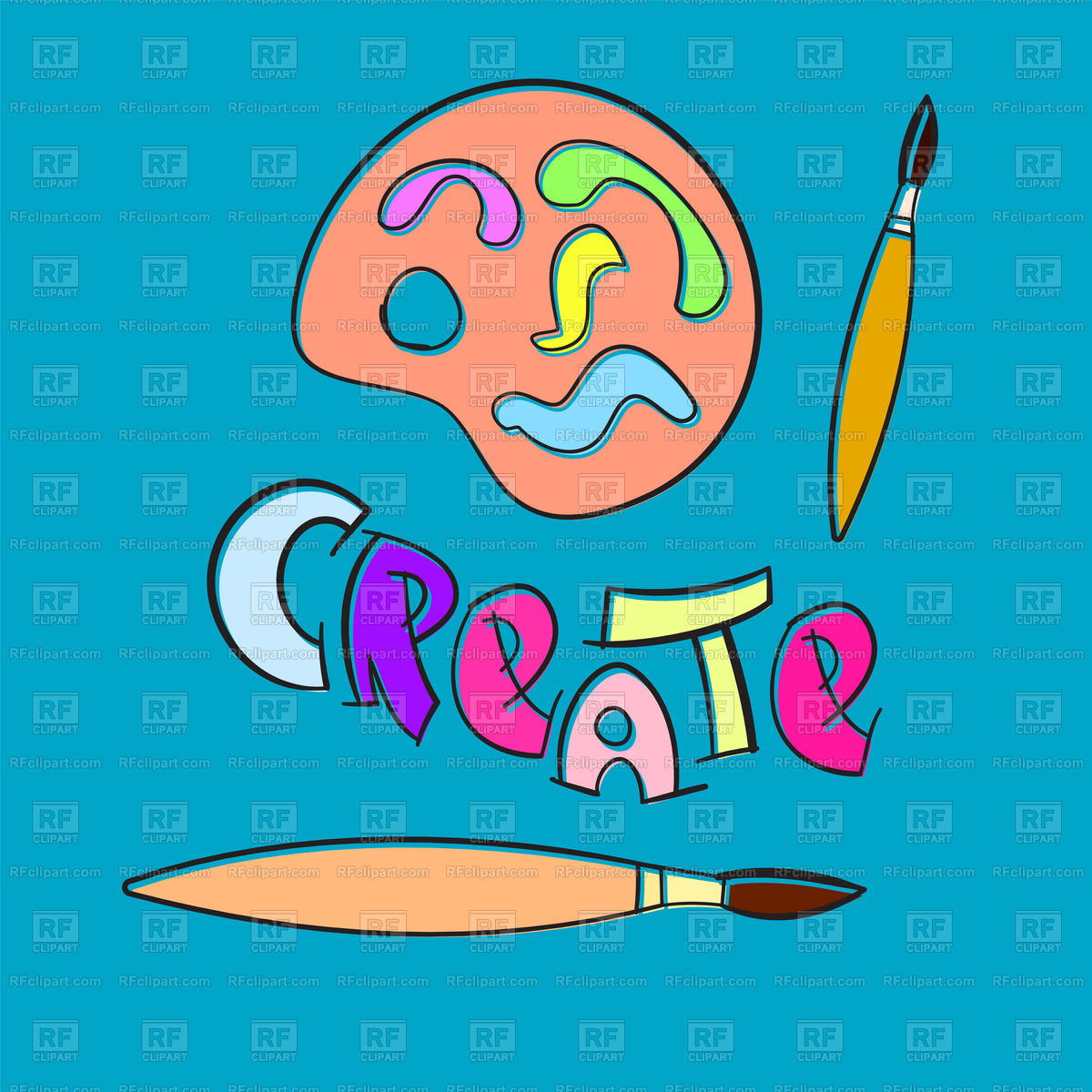 Text CREATE with artist paint brush and palette Stock Vector Image.