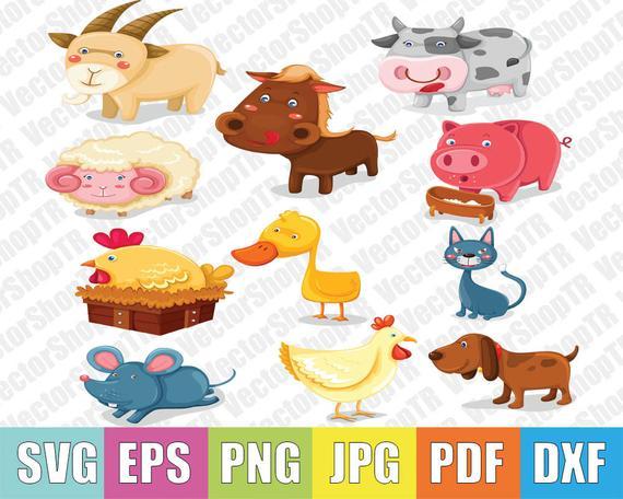 Cute farm animals 11pcs svg, eps, pdf,jpg,png in 2019.