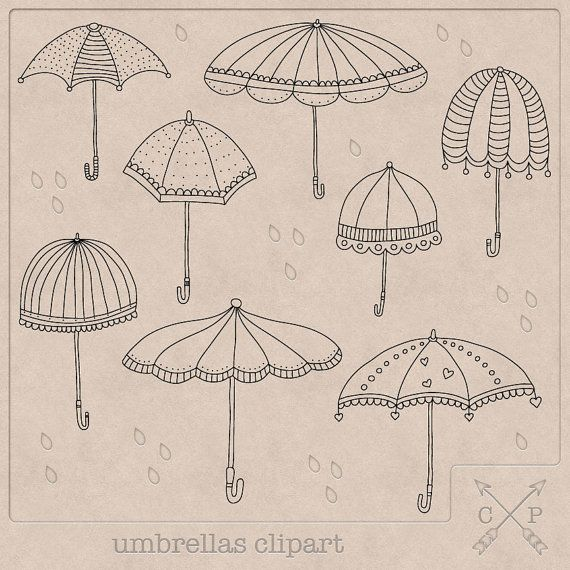8 hand drawn black umbrellas doodle clip art files on.