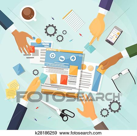 Web Development Create Design Site Building Team People Clip Art.