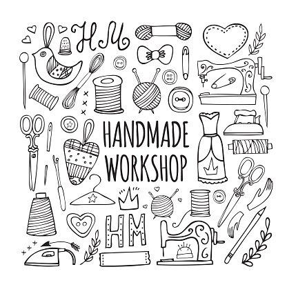 The hand drawn elements to create a logo handmade workshop.