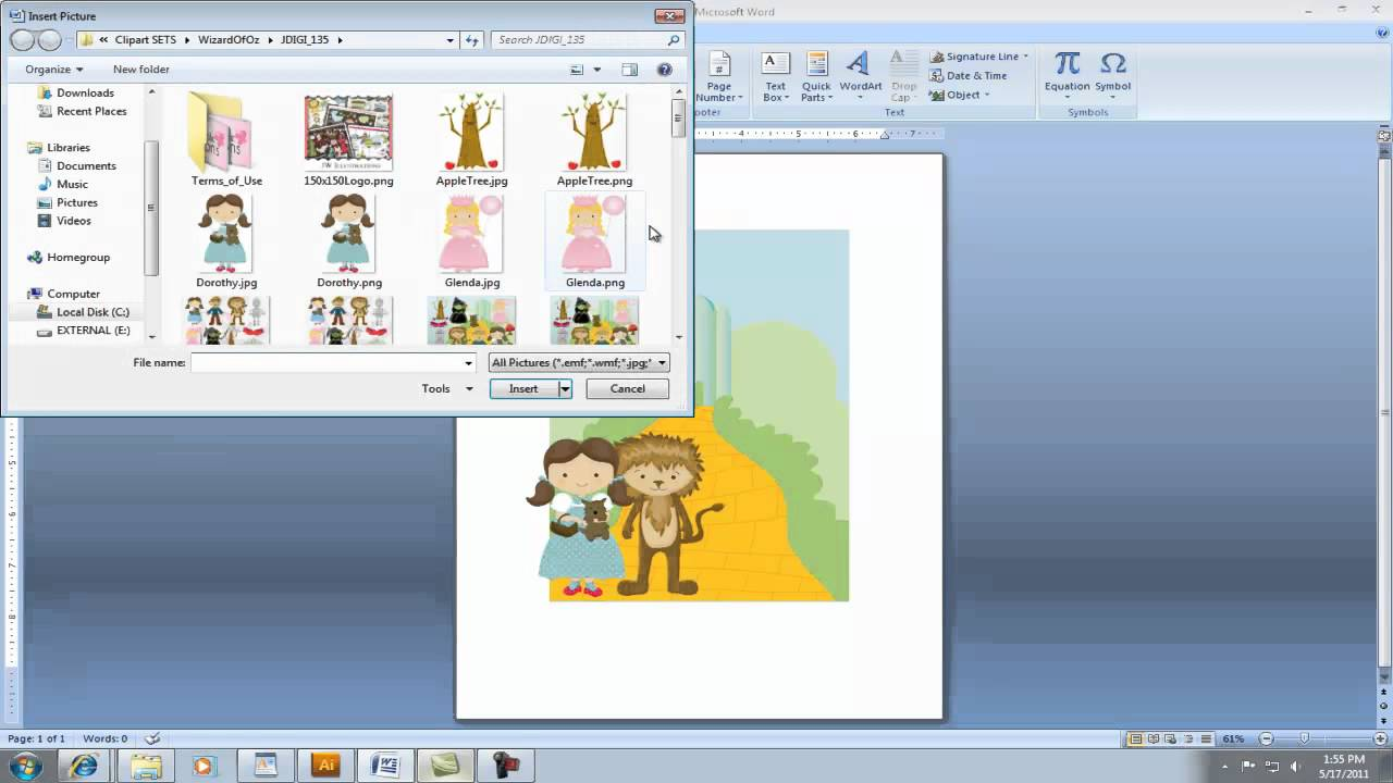 Creating Invitation using Clipart in Microsoft Word.