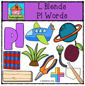 L Blends PL words {P4 Clips Trioriginals Digital Clip Art}.