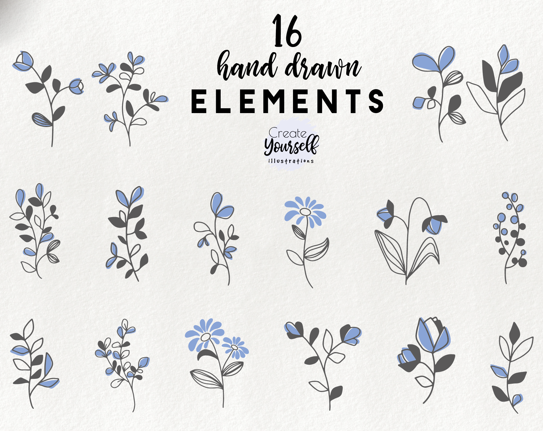 Hand drawn blue floral elements.