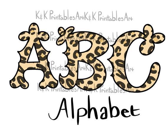 Leopard print Alphabet, font, alphabet, instant download.