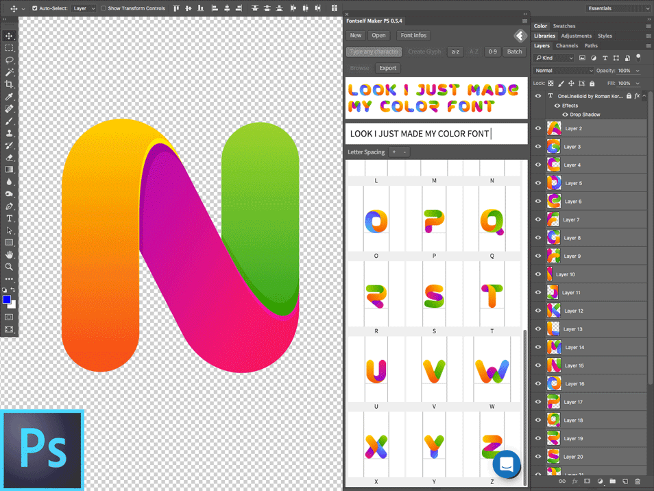 Create beautiful Color Fonts easily in Photoshop with Fontself plugin.