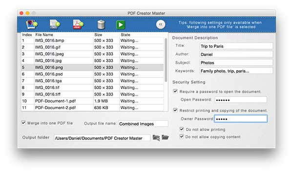 How to create PDF files from image and plain text on Mac OS X.