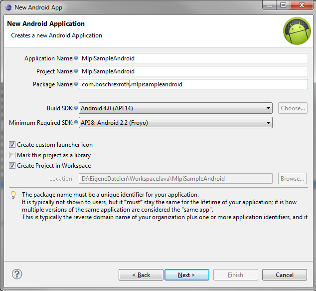 Creating a new Java project for Android using Eclipse.