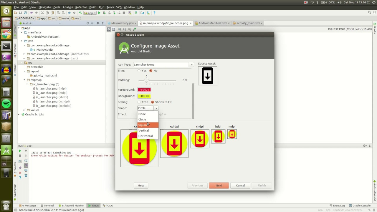 How to create app launcher icon in Android Studio.