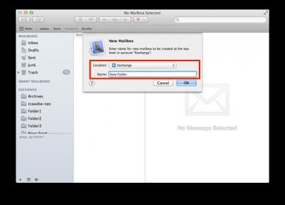 Create a new folder in Mac Mail.
