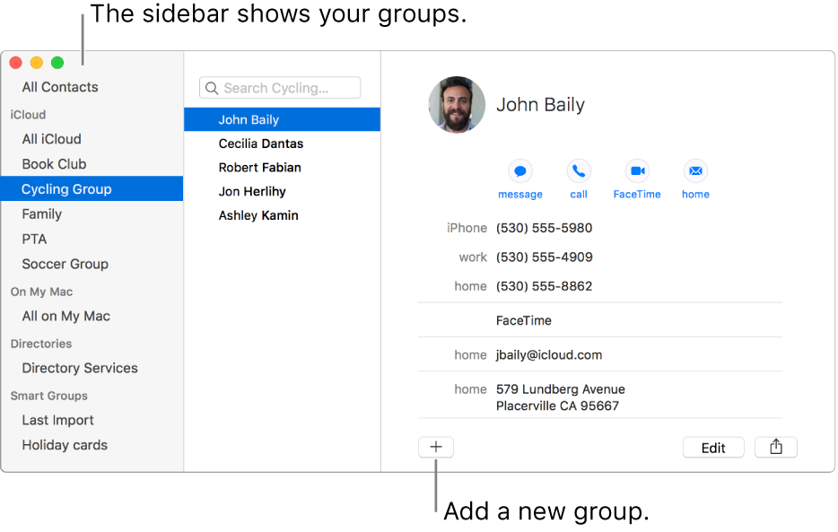 Create groups of contacts in Contacts on Mac.